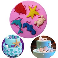 billige Bakeredskap-diy hav verden ulike dyr silikon mold kjeks kjeks kaker kake molds fondant baking dekorere verktøy