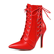 baratos Mais Vendidos-Mulheres Sapatos Courino Primavera Outono Tira no Tornozelo Botas da Moda Botas Salto Agulha Dedo Apontado Botas Curtas / Ankle para