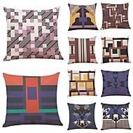 baratos Almofadas de tiro-10 blocos pçs Linho Cobertura de Almofada, Geométrica Art Deco Xadrez