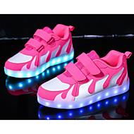 女の子 靴 PUレザー 春 秋 コンフォートシューズ スニーカー のために カジュアル フクシャ ピンクとホワイト ブラックとホワイト ブラック/レッド