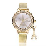 billige Quartz-Dame Quartz Armbåndsur Kinesisk Imiteret Diamant Legering Bånd Afslappet Eiffeltårnet Mode Guld