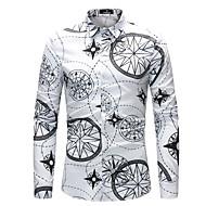 Homens Tamanhos Grandes Camisa Social Estampado, Geométrica Colarinho Clássico Delgado