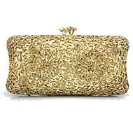baratos Clutches & Bolsas de Noite-Mulheres Bolsas Plástico / Metal Bolsa de Festa Detalhes em Cristal Geométrica Dourado / Prata