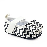 cheap Baby Shoes-Girls' Shoes Leatherette Spring Fall Crib Shoes First Walkers Comfort Flats Bowknot Magic Tape for Casual Outdoor Black/White