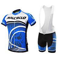 Malciklo สำหรับผู้ชาย แขนสั้น Cycling Jersey with Bib Shorts - สีดำ สีฟ้า+สีขาว จุดDots จักรยาน ชุดเสื้อผ้า ระบายอากาศ 3D Pad แห้งเร็ว กระเป๋าหลัง กีฬา ความเย็นสุด® ไลคร่า จุดDots / ความยืดหยุ่นสูง