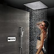 olcso Luxus Kollekció-kortárs falra szerelhető esőzuhany, kézizuhany, termosztatikus kerámia szelep, három fogantyúval, négy lyuk krómozott, zuhany csaptelep