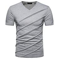 Χαμηλού Κόστους -Ανδρικά T-shirt Καθημερινά Κομψό στυλ street Κοντομάνικο Λαιμόκοψη V Άνοιξη Καλοκαίρι Πολυεστέρας