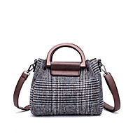 cheap Bags-Women's Bags PU Linen Tote 2 Pieces Purse Set Zipper for Casual Office & Career All Seasons Gray Brown