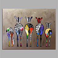 cheap Wall Art-Oil Painting Hand Painted - Animals / Pop Art Modern Rolled Canvas