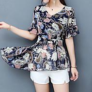 Mulheres Blusa - Feriado Moda de Rua Estampado, Floral Decote V Delgado