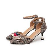baratos Sapatos Femininos-Mulheres Sapatos Tecido / Couro Ecológico Primavera / Verão Conforto / Tira no Tornozelo Saltos Caminhada Salto Agulha Dedo Apontado /