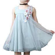 Pigens Kjole Daglig Ferie Ensfarvet Blomstret, Bomuld Polyester Sommer Uden ærmer Sødt Basale Blå Lyserød