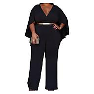 Žene bodysuit - Osnovni, Jedna barva V izrez Wide Leg