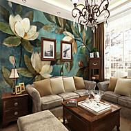 billige Tapet-Blomstret Art Deco 3D Hjem Dekor Moderne Klassisk Tapetsering, Lerret Materiale selvklebende nødvendig Veggmaleri, Tapet
