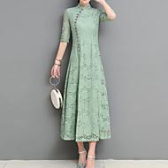 Žene Praznik Vintage Kinezerije Slim Korice Haljina - S izrezom Print, Jednobojni Ruska kragna Midi