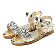 cheap Girls' Shoes-Girls' Shoes Patent Leather Summer Flower Girl Shoes Slingback Sandals Sparkling Glitter Hook & Loop for Casual Dress Gold Silver