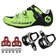 SIDEBIKE للبالغين أحذية لركوب الدرجات مزودة ببدال وماسك Road Bike Shoes نايلون متنفس توسيد ركوب الدراجة أسود أحمر أخضر رجالي أحذية الدراجة / شبكة قابلة للتنفس / هوك وحلقة