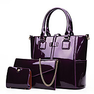 cheap Bag Sets-Women's Bags Patent Leather Bag Set 3 Pcs Purse Set Zipper Black / Red / Purple