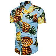 Herrn Frucht Strand Baumwolle Hemd, Klassischer Kragen Ananas / Kurzarm / Sommer