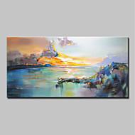 voordelige -Handgeschilderde Abstract Landschap Horizontaal, Modern Kangas Hang-geschilderd olieverfschilderij Huisdecoratie Eén paneel