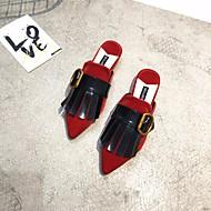 女性用 靴 合成マイクロファイバーPU 春 / 秋 コンフォートシューズ 下駄とミュール フラットヒール ブラック / レッド / ピンク
