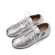 levne Taneční obuv-Dámské Boty na jazzové tance Nappa Leather Plochá podrážka / Oxfordky Rovná podrážka Obyčejné Taneční boty Zlatá / Černá / Stříbrná