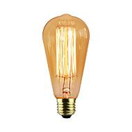 billige Glødelampe-1pc 40W E27 E26/E27 E26 ST58 Varm hvit K Glødende Vintage Edison lyspære AC 110-130V AC 220-240V V