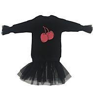 Menina de Vestido Diário Sólido Outono Algodão Manga Longa Simples Activo Preto Vermelho
