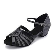 baratos Sapatilhas de Dança-Mulheres Sapatos de Dança Latina Glitter Couro Sintético Sintético Sandália Profissional Salto Robusto Dourado Prata Preto e Prateado 1 -