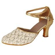 billige Kustomiserte dansesko-Dame Moderne sko Blonder / Paljett / Kunstlær Høye hæler Paljett / Spenne / Blonder Kubansk hæl Kan spesialtilpasses Dansesko Gull