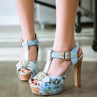 baratos Sapatos Femininos-Mulheres Couro Ecológico Primavera / Verão Conforto / Inovador Sandálias Salto Robusto Peep Toe Presilha Preto / Azul / Rosa claro / Festas & Noite
