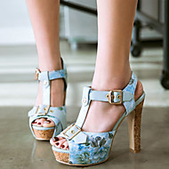 cheap Women's Sandals-Women's PU(Polyurethane) Spring / Summer Comfort / Novelty Sandals Chunky Heel Peep Toe Buckle Black / Blue / Pink / Party & Evening