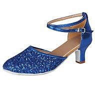 baratos Sapatilhas de Dança-Mulheres Sapatos de Dança Moderna Paetês / Courino Salto Lantejoulas / Presilha / Renda Salto Cubano Personalizável Sapatos de Dança Azul