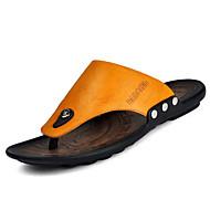 お買い得  メンズスリッパ&ビーチサンダル-男性用 靴 レザー 春 夏 コンフォートシューズ スリッパ&フリップ・フロップ のために カジュアル イエロー Brown