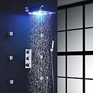 Χαμηλού Κόστους LED Series-Σύγχρονο Επιτοίχιες Ντουζιέρα Βροχή Περιλαμβάνεται Τηλέφωνο Ντουζιέρας Εκτεταμένο Θερμοστατικό LED with  Βαλβίδα Ορείχαλκου Τρεις λαβές