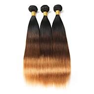 ブラジリアンヘア ストレート オンブル' 3バンドル 10-26インチ 人間の髪織り ブラック / ミディアムBrown  / ストロベリーブロンド