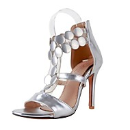 cheap Women's Sandals-Women's Shoes PU(Polyurethane) Summer Gladiator Sandals Stiletto Heel Open Toe Sequin Gold / Silver / Red / Party & Evening