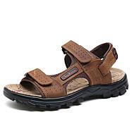 tanie Obuwie męskie-Męskie Komfortowe buty Skóra bydlęca Lato Vintage / Casual Sandały Oddychający Czarny / Kawowy