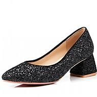 baratos Sapatos Femininos-Mulheres Sapatos Courino Primavera / Outono Conforto / Inovador Saltos Salto Robusto Dedo Apontado Preto / Vermelho / Rosa claro