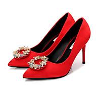 Mulheres Sapatos Seda Primavera Outono Plataforma Básica Saltos Salto Agulha Dedo Apontado Pedrarias para Casamento Festas & Noite Preto