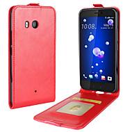 billiga Mobil cases & Skärmskydd-fodral Till HTC U11 Life U11 Korthållare Lucka Fodral Ensfärgat Mjukt PU läder för HTC U11 HTC U11 Life HTC U11 plus