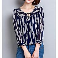 Pentru femei Bluză De Bază - Geometric Imprimeu Albastru piscină XL / Primăvară / Vară / Dantelat
