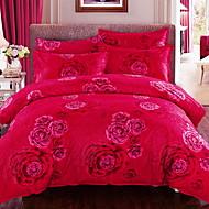 billige Kinesiske røde dynetrekk-Sengesett Blomstret 4 deler Polyester/Bomull 100% bomull Mønstret Polyester/Bomull 100% bomull 1stk Dynetrekk 2stk Trekk 1stk Flatt Laken