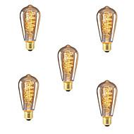 billige Glødelampe-5pcs 40W E26/E27 ST64 2300 K Glødende Vintage Edison lyspære 220V-240V V