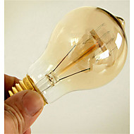 baratos Incandescente-1pç 40W E26 / E27 A60(A19) Branco Quente 2300k Retro Regulável Decorativa Incandescente Vintage Edison Light Bulb 220-240V