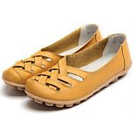 Žene Cipele Koža Proljeće Jesen Udobne cipele Natikače i mokasinke Ravna potpetica za Obala Crn Bijela