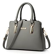 baratos Bolsas Tote-Mulheres Bolsas PU Tote Ziper para Casual / Escritório e Carreira Cinzento Escuro / Roxo / Verde Escuro