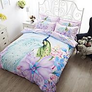 tanie Floral Duvet Okładki-Zestawy kołdra okładka Kwiaty 4 elementy Poly / Cotton Żakard Poly / Cotton 1szt kołdrę 2szt Shams 1szt Flat Sheet