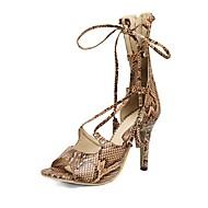 baratos Sapatos Femininos-Mulheres Sapatos Courino Primavera / Verão Inovador / Tira no Tornozelo Sandálias Salto Agulha Peep Toe Mocassim Bege / Azul / Khaki