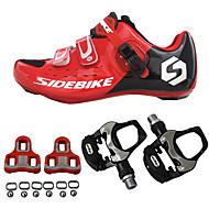 SIDEBIKE 男性用 ロードバイクシューズ / サイクリングシューズ(ペダル&クリート付き) ナイロン、カーボンファイバー サイクリング / バイク クッション, 超軽量(UL) PUレザー レッドとブラック